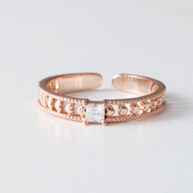 CZ Milgrain Heart Band Ring Rose Gold from kellinsilver.com