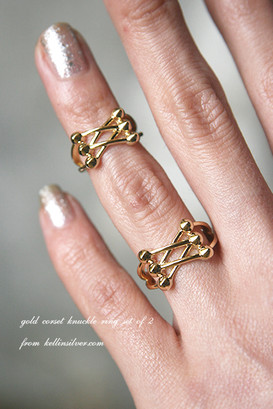 Gold Corset Knuckle Ring Set of 2 from kellinsilver.com
