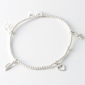 Sterling Silver Ball Bracelet Fish Star Heart Peace Sign Leaf Charm from kellinsilver.com