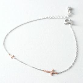 Rose Gold Tiny Hammered Sideways Crosses Bracelet Sterling Silver from kellinsilver.com