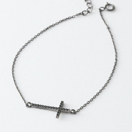 Black CZ Sideways Cross Bracelet Sterling Silver from kellinsilver.com