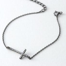 CZ Sterling Silver Sideways Cross Bracelet Black from kellinsilver.com