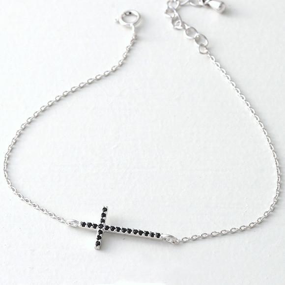 Black CZ Sterling Silver Sideways Cross Bracelet White Gold from kellinsilver.com