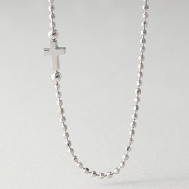 Cutting Ball Chain white Gold Sideways Cross Necklace Sterling Silver from kellinsilver.com