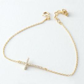 CZ Gold Sideways Cross Bracelet Sterling Silver from kellinsilver.com