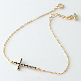 Black CZ Gold Sideways Cross Bracelet Sterling Silver from kellinsilver.com