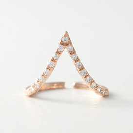 CZ Rose Gold V Knuckle Ring from kellinsilver.com