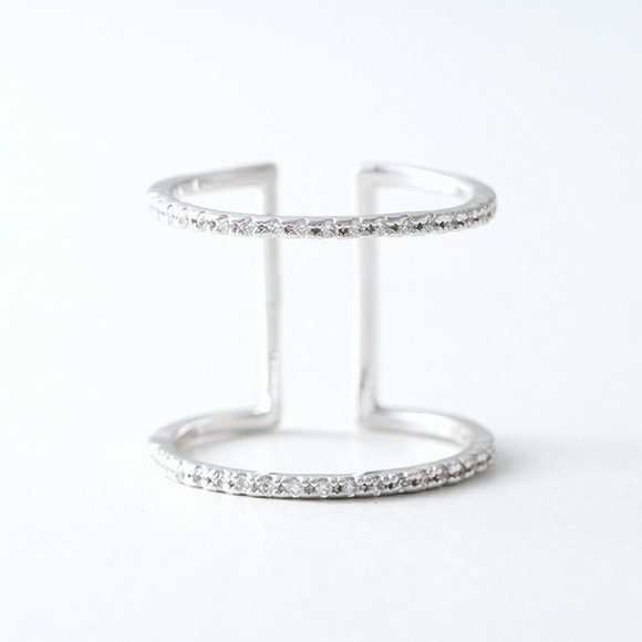 CZ White Gold Spacer Ring Wrap from kellinsilver.com