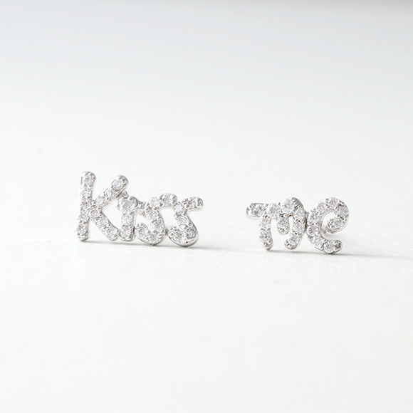 Swarovski White Gold Kiss Me Earrings Studs from kellinsilver.com