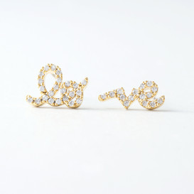 CZ Gold Love Word Earrings Studs from kellinsilver.com