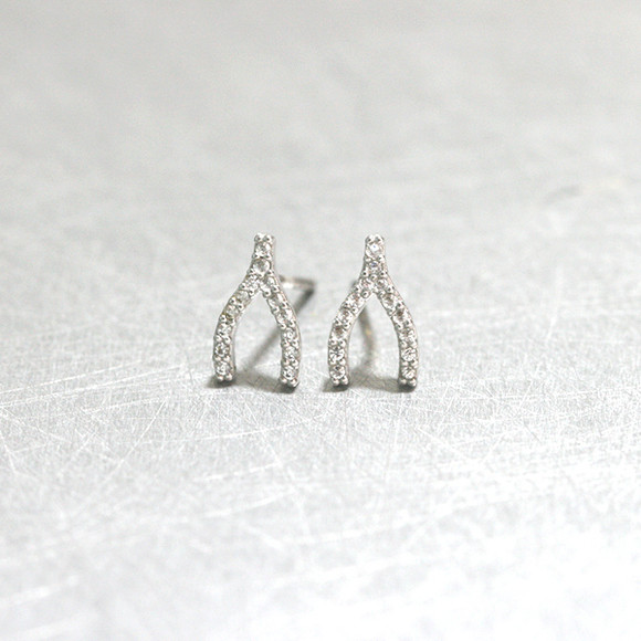 Swarovski White Gold Small Wishbone Studs Earrings from kellinsilver.com