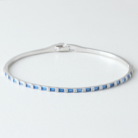 Swarovski Sapphire Rectangle Channel Bracelet Whire Gold from kellinsilver.com