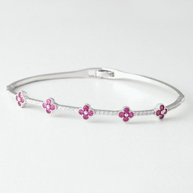 Swarovski Ruby Clover Bangle Bracelet White Gold from kellinsilver.com