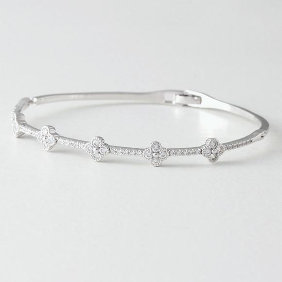 Swarovski Clover Bangle Bracelet White Gold from kellinsilver.com