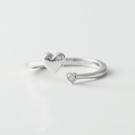 CZ Cute Love Heart Wrap Ring White Gold from kellinsilver.com