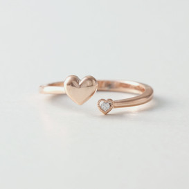 CZ Cute Love Heart Wrap Ring Rose Gold from kellinsilver.com