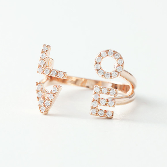 Swarovski Pave Love Cuff Ring from kellinsilver.com