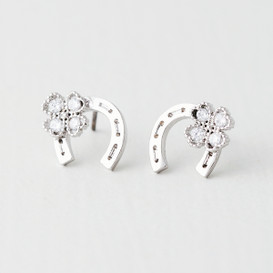 CZ Flower Horseshoe Studs Earrings White Gold from kellinsilver.com