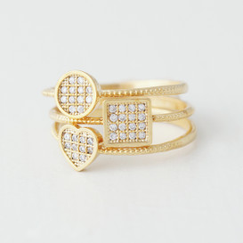 Pave Square Round Heart Stacking Ring Set Gold from kellinsilver.com