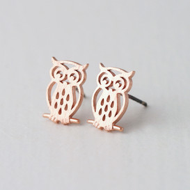 Matt Rose Gold Owl Earrings Stud from kellinsilver.com