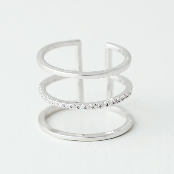 CZ Triple Spacer Ring Wrap White Gold from kellinsilver.com