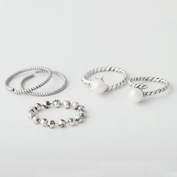 Oxidized Pearl Stackable Ring Pack from kellinsilver.com