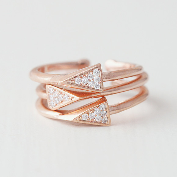 Cz Rose Gold Spike Stackable Ring Set Kellinsilver Com