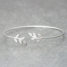 White Gold Baby Leaf Cuff Bracelet from kellinsilver.com