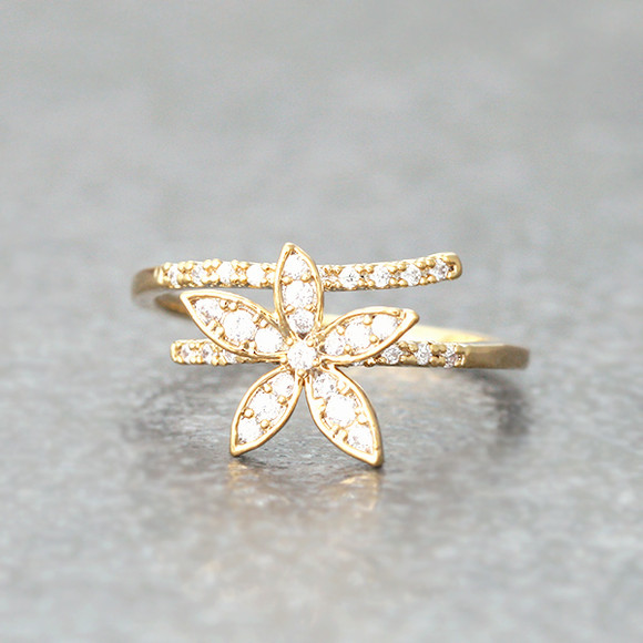 Nature Jewelry Dainty Cosmos Flower Wrap Ring Gold from kellinsilver.com