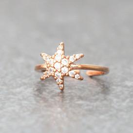 CZ Rose Gold Snowflake Midi Ring Snowflake Jewelry from kellinsilver.com