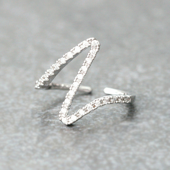 CZ White Gold Heartbeat Ring from kellinsilver.com