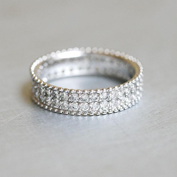Perlee Pave Eternity Wedding Band Sterling Silver kellinsilvercom