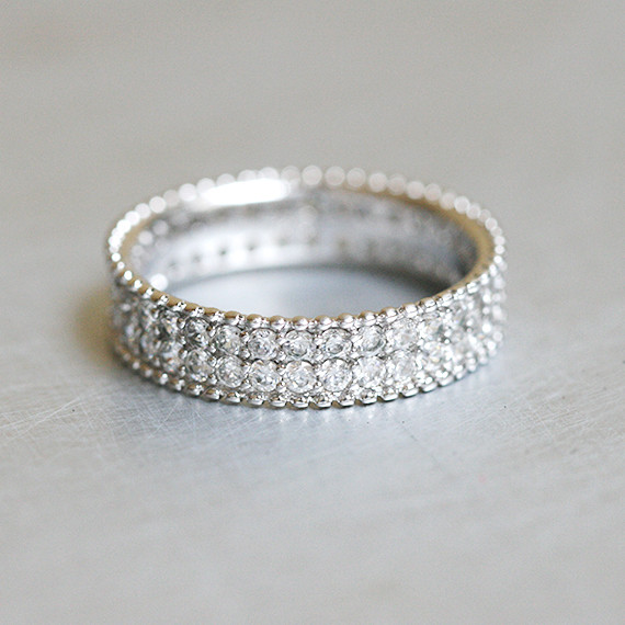 Perlee Pave Eternity Wedding Band Sterling Silver From Kellinsilver