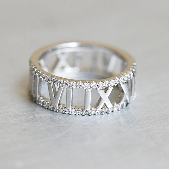 Cz Roman Numerals Ring Sterling Silver Kellinsilver Com