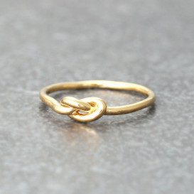 Thin Love Knot Ring Gold Promise Ring from kellinsilver.com
