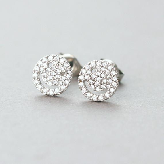 Micro Pave Swarovski Tiny Smile Stud Earrings White Gold from kellinsilver.com