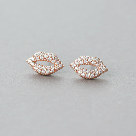 Micro Pave Swarovski Kiss Me Lip Stud Earrings Rose Gold from kellinsilver.com