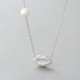 Swarovski Micro Pave White Gold Lip Necklace Sterling Silver from kellinsilver.com