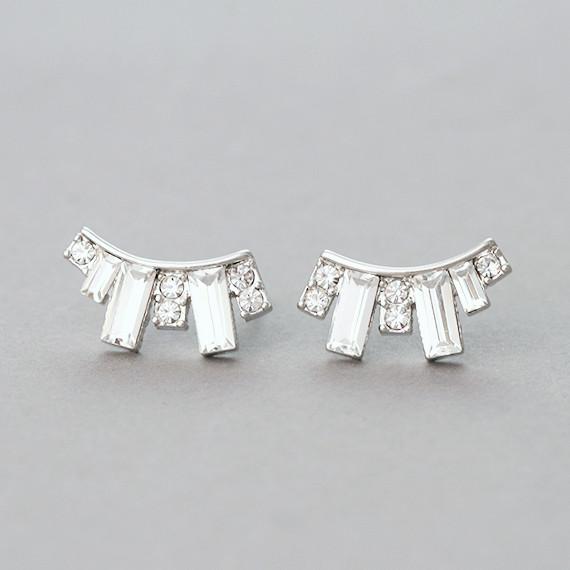 Crystal Baguette Stud Earrings from kellinsilver.com