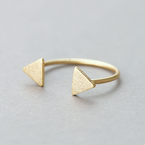 Textured Gold Twin Triangle Ring Cuff from kellinsilver.com