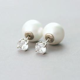 CZ Sterling Silver Pearl Backing Earrings from kellinsilver.com