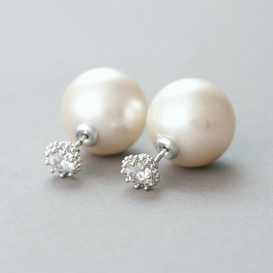 CZ Elegant Setting Pearl Backing Double Side Earrings from kellinsilver.com