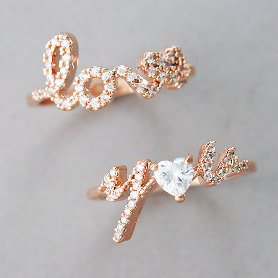 CZ Rose Gold Love Your Ring Set from kellinsilver.com