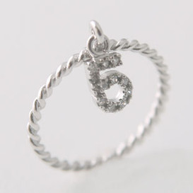 No 5 Cubic Zirconia Charm Ring Sterling Silver from kellinsilver.com