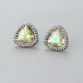 Hologram Swarovski Triangle Black Edge Costume Earrings from kellinsilver.com