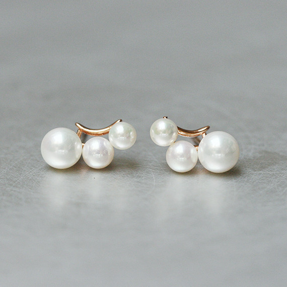 Three Shell Pearl Climber Rose Gold Stud Earrings Sterling