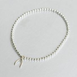 Wishbone Charm 2MM Silver Ball Bracelet from kellinsilver.com