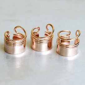 Rose Gold Barrel First Knuckle Ring Set from kellinsilver.com