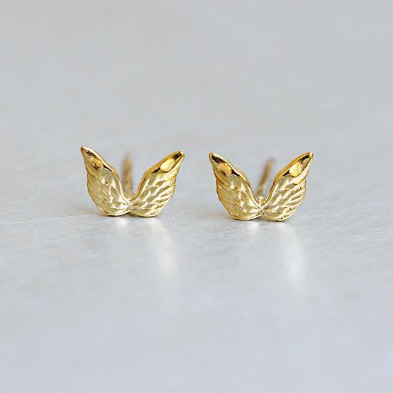 Gold Angel Wing Stud Earrings Sterling Silver