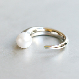 White Gold Pearl and Spike Ring Cuff from kellinsilver.com